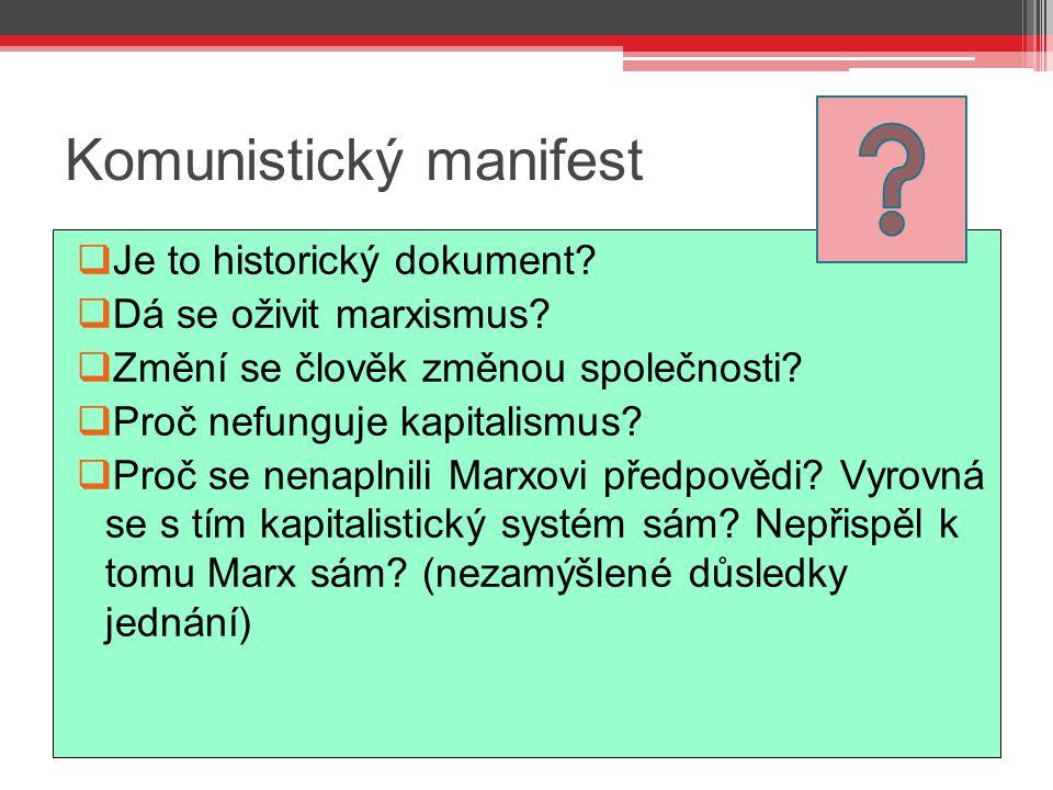 Komunistický manifest  Je to historický dokument?  Dá se oživit marxismus?  Změní se člověk změnou společnosti?  Proč nefunguje kapitalismus?  Pr