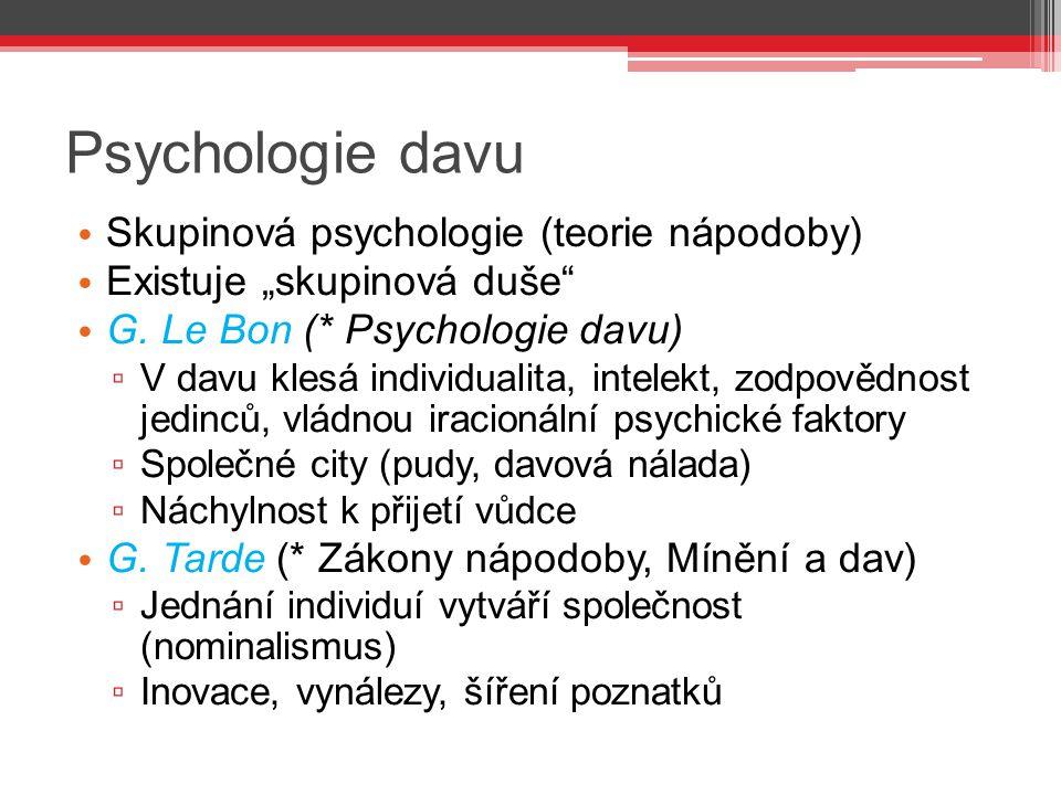 """Psychologie davu Skupinová psychologie (teorie nápodoby) Existuje """"skupinová duše"""" G. Le Bon (* Psychologie davu) ▫ V davu klesá individualita, intele"""