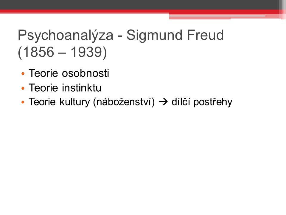 Psychoanalýza - Sigmund Freud (1856 – 1939) Teorie osobnosti Teorie instinktu Teorie kultury (náboženství)  dílčí postřehy