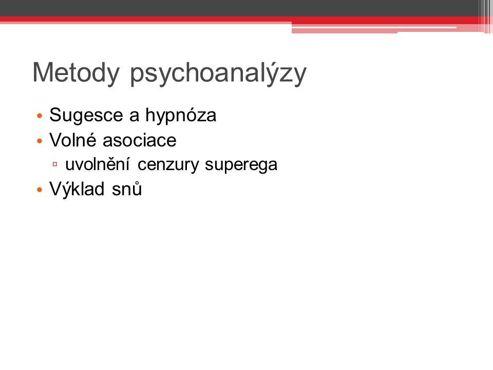 Metody psychoanalýzy Sugesce a hypnóza Volné asociace ▫ uvolnění cenzury superega Výklad snů