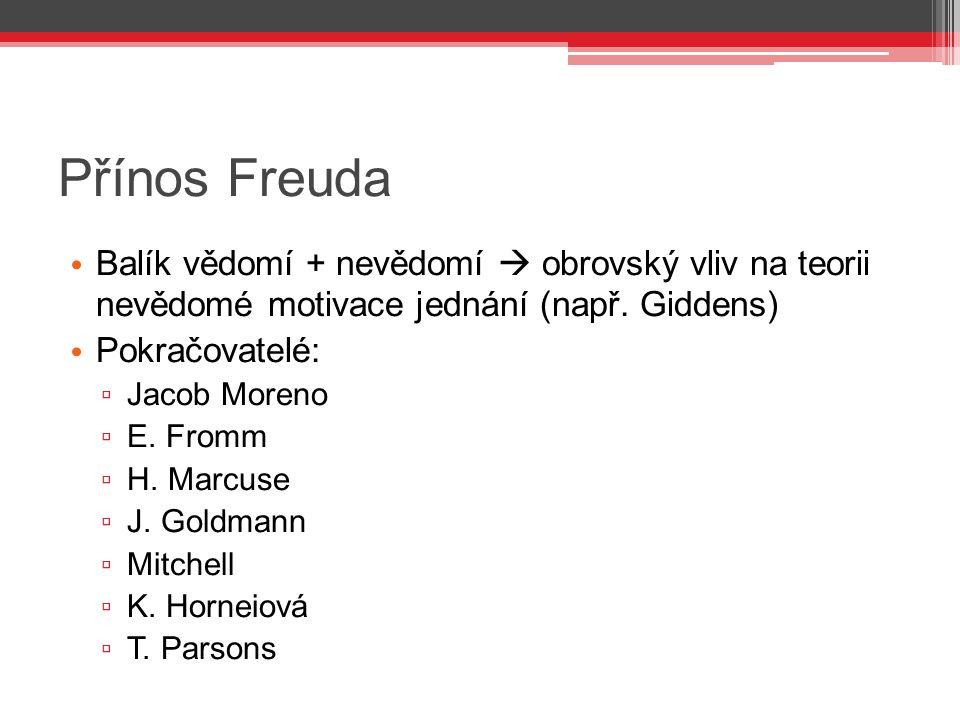Přínos Freuda Balík vědomí + nevědomí  obrovský vliv na teorii nevědomé motivace jednání (např. Giddens) Pokračovatelé: ▫ Jacob Moreno ▫ E. Fromm ▫ H