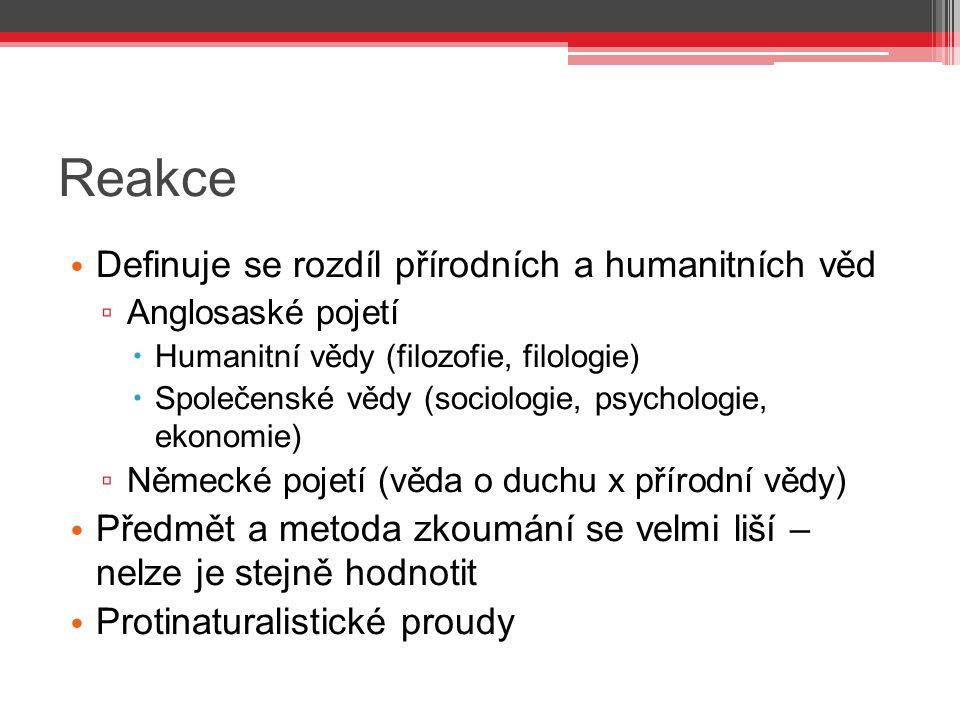 Reakce Definuje se rozdíl přírodních a humanitních věd ▫ Anglosaské pojetí  Humanitní vědy (filozofie, filologie)  Společenské vědy (sociologie, psy