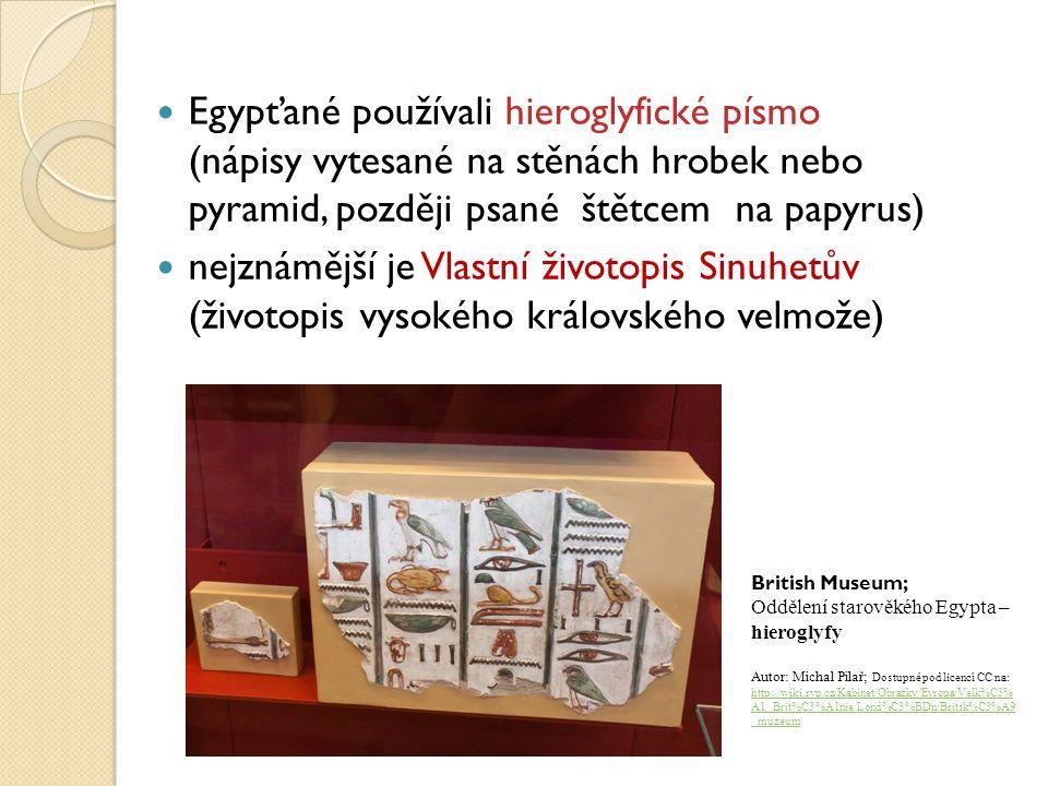 Egypťané používali hieroglyfické písmo (nápisy vytesané na stěnách hrobek nebo pyramid, později psané štětcem na papyrus) nejznámější je Vlastní život
