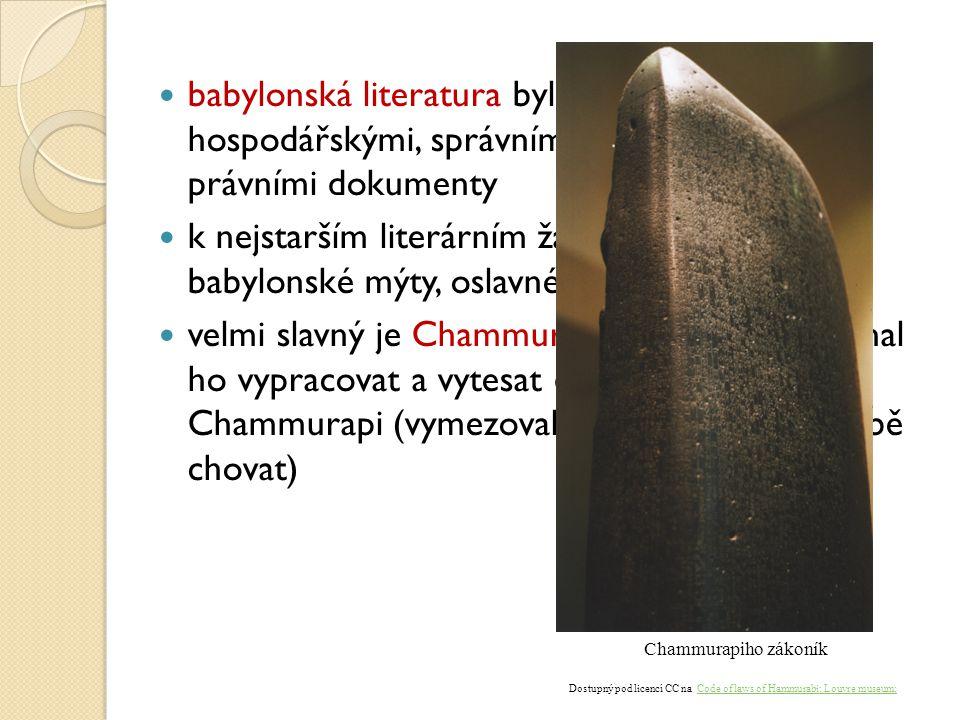 babylonská literatura byla tvořena hlavně hospodářskými, správními, náboženskými a právními dokumenty k nejstarším literárním žánrům patřily i babylon