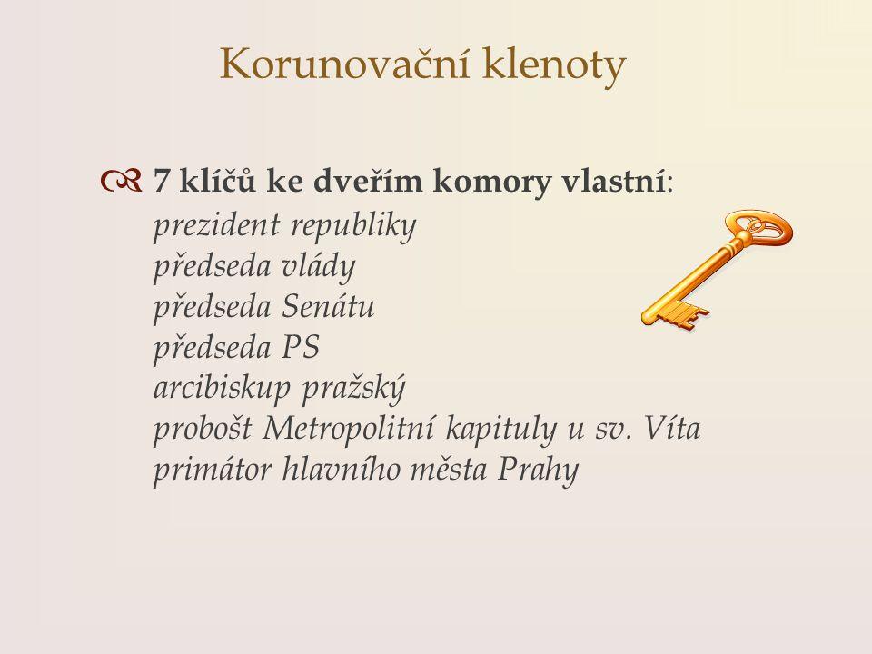  7 klíčů ke dveřím komory vlastní : prezident republiky předseda vlády předseda Senátu předseda PS arcibiskup pražský probošt Metropolitní kapituly u