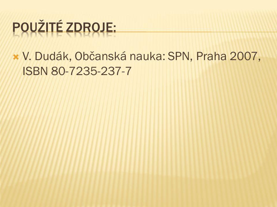 V. Dudák, Občanská nauka: SPN, Praha 2007, ISBN 80-7235-237-7