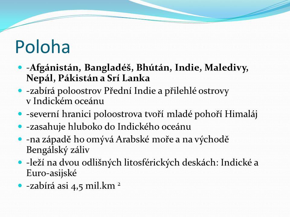 Poloha -Afgánistán, Bangladéš, Bhútán, Indie, Maledivy, Nepál, Pákistán a Srí Lanka -zabírá poloostrov Přední Indie a přilehlé ostrovy v Indickém oceá