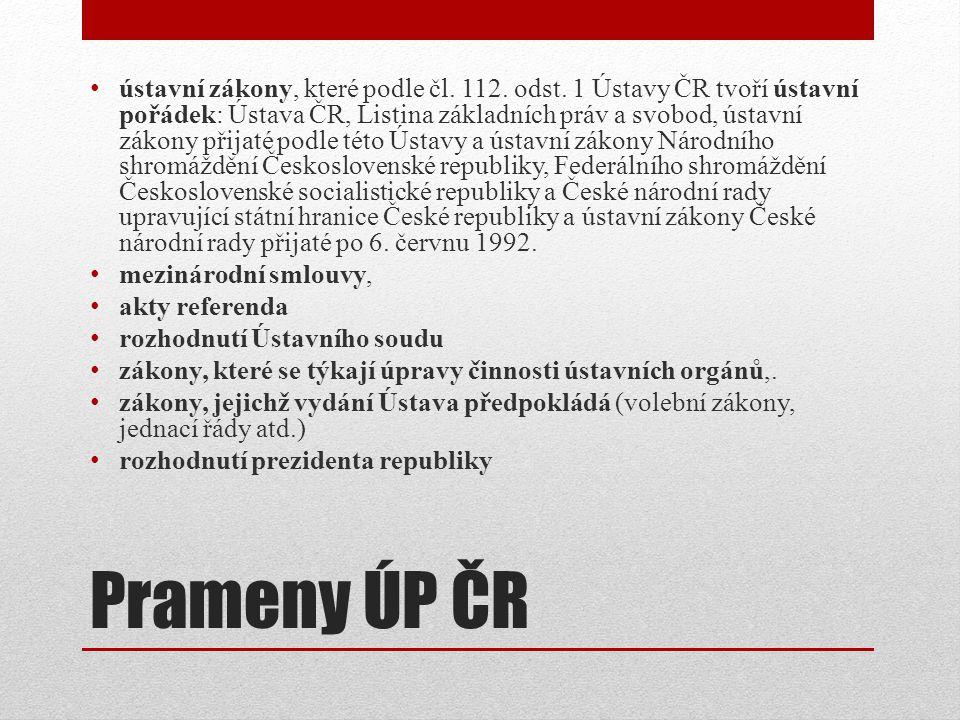 Prameny ÚP ČR ústavní zákony, které podle čl.112.
