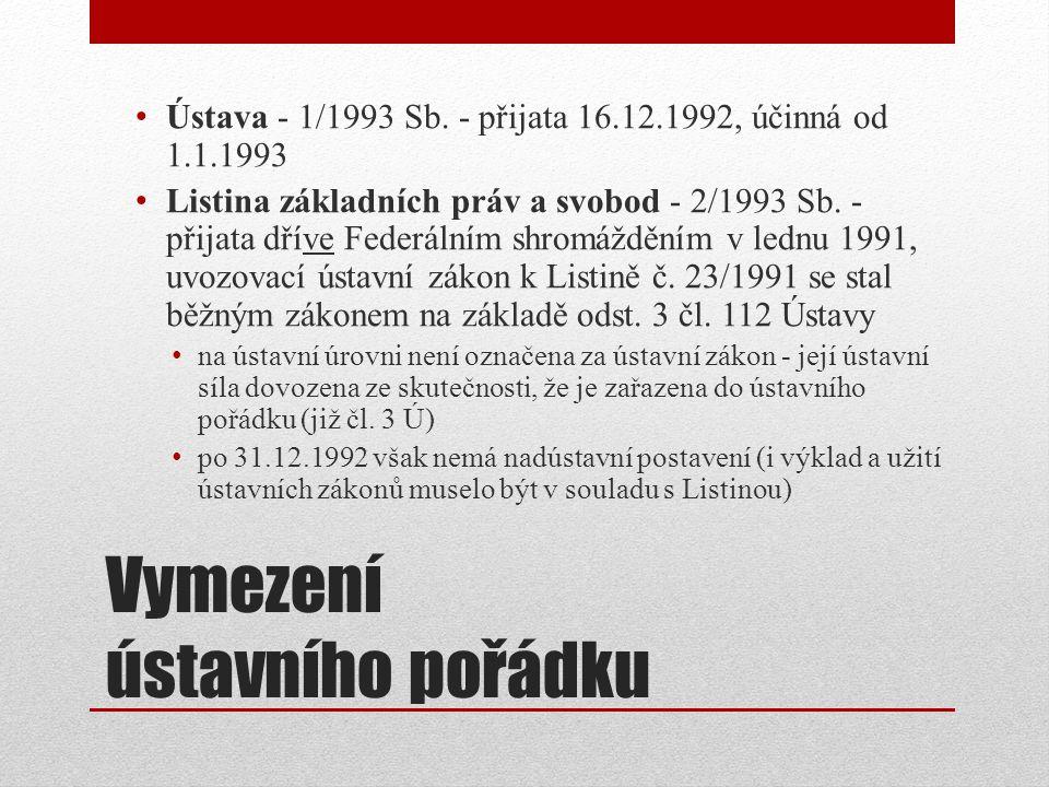 Vymezení ústavního pořádku Ústava - 1/1993 Sb.