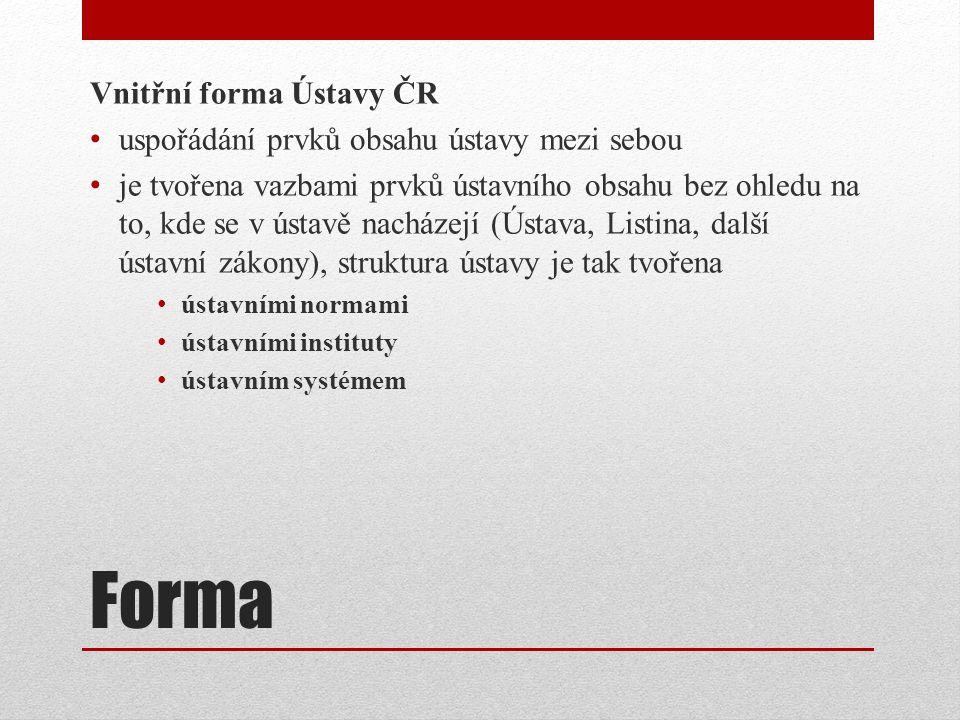 Forma Vnitřní forma Ústavy ČR uspořádání prvků obsahu ústavy mezi sebou je tvořena vazbami prvků ústavního obsahu bez ohledu na to, kde se v ústavě nacházejí (Ústava, Listina, další ústavní zákony), struktura ústavy je tak tvořena ústavními normami ústavními instituty ústavním systémem