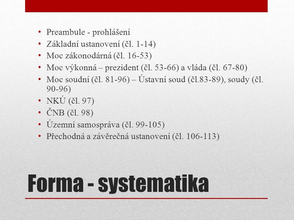 Forma - systematika Preambule - prohlášení Základní ustanovení (čl.