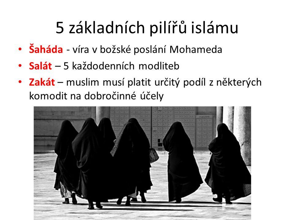 5 základních pilířů islámu Šaháda - víra v božské poslání Mohameda Salát – 5 každodenních modliteb Zakát – muslim musí platit určitý podíl z některých komodit na dobročinné účely