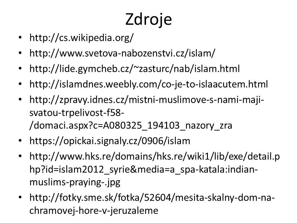 Zdroje http://cs.wikipedia.org/ http://www.svetova-nabozenstvi.cz/islam/ http://lide.gymcheb.cz/~zasturc/nab/islam.html http://islamdnes.weebly.com/co