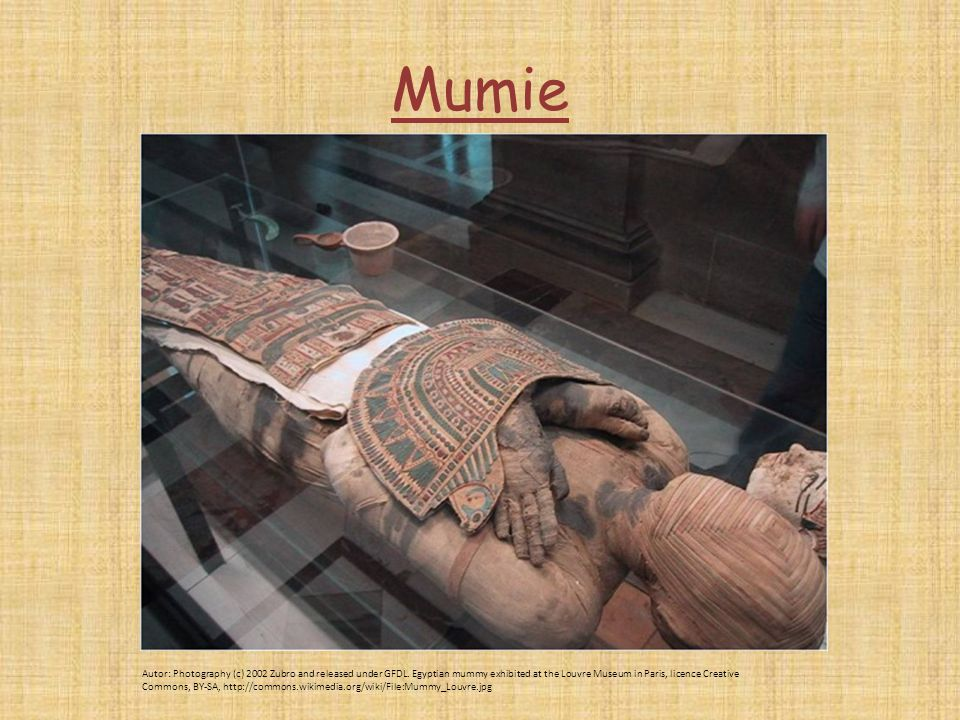 Mumie Autor: Photography (c) 2002 Zubro and released under GFDL. Egyptian mummy exhibited at the Louvre Museum in Paris, licence Creative Commons, BY-