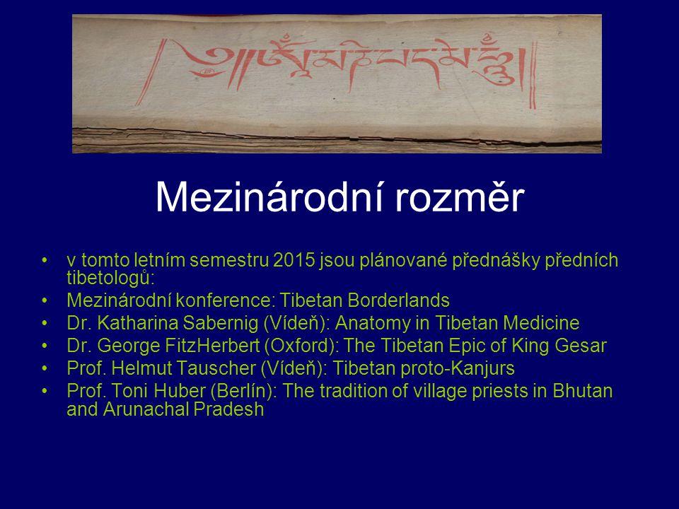 Mezinárodní rozměr v tomto letním semestru 2015 jsou plánované přednášky předních tibetologů: Mezinárodní konference: Tibetan Borderlands Dr. Katharin