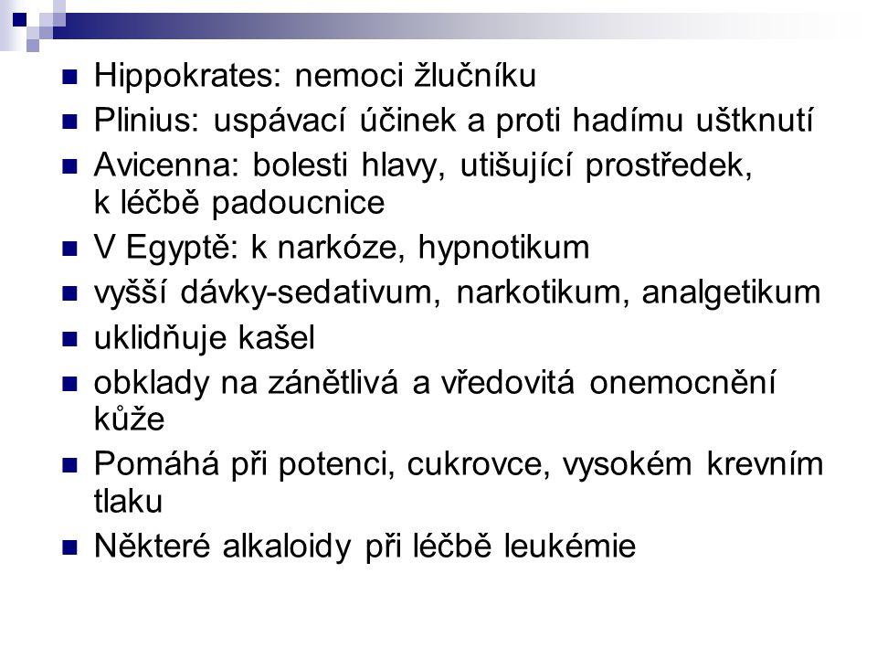 Hippokrates: nemoci žlučníku Plinius: uspávací účinek a proti hadímu uštknutí Avicenna: bolesti hlavy, utišující prostředek, k léčbě padoucnice V Egyp