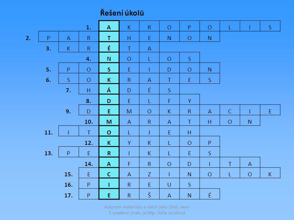 1.AKROPOLIS 2.PARTHENON 3.KRÉTA 4.NOLOS 5.POSEIDON 6.SOKRATES 7.HÁDÉS 8.DELFY 9.DEMOKRACIE 10.MARATHON 11.ITOLJEH 12.KYKLOP 13.PERIKLES 14.AFRODITA 15