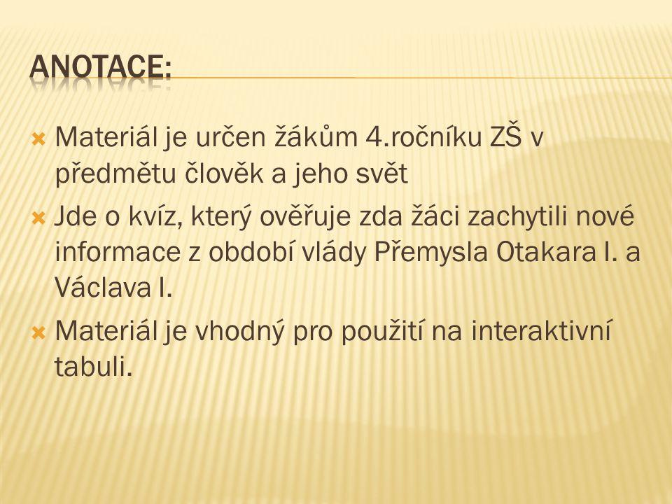 http://dejiny.ceskatelevize.cz/ Přemysl Otakar I.