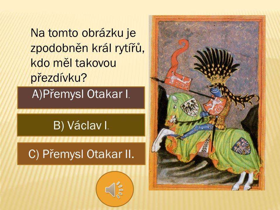 Na tomto obrázku je zpodobněn král rytířů, kdo měl takovou přezdívku.