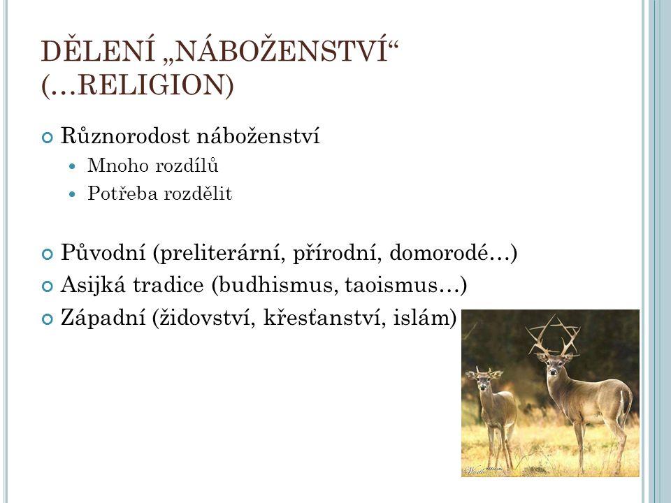 """DĚLENÍ """"NÁBOŽENSTVÍ"""" (…RELIGION) Různorodost náboženství Mnoho rozdílů Potřeba rozdělit Původní (preliterární, přírodní, domorodé…) Asijká tradice (bu"""
