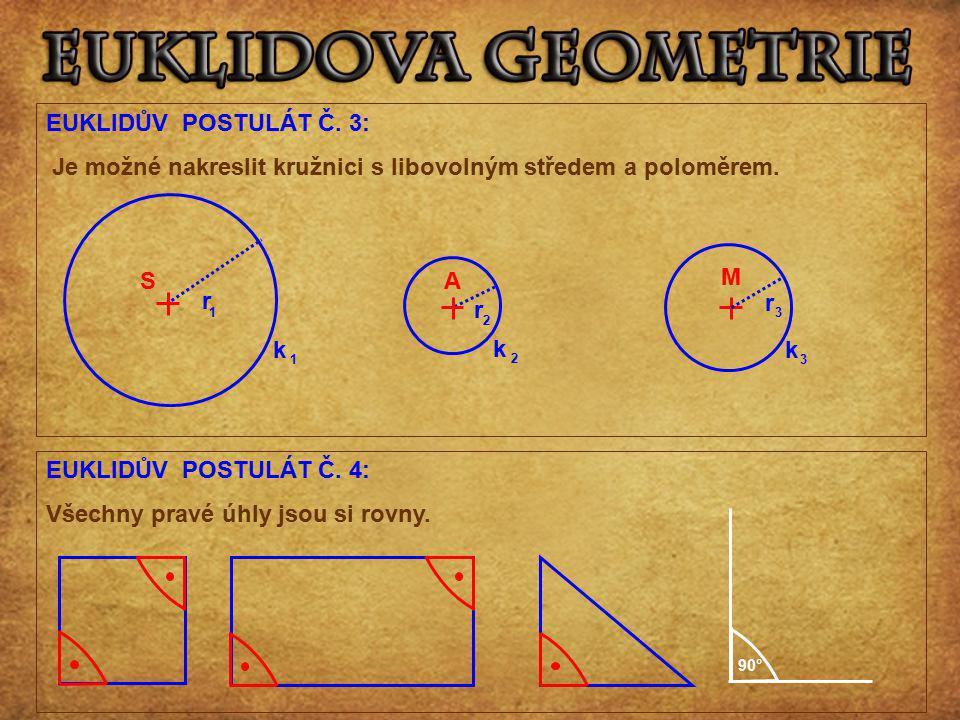 EUKLIDŮV POSTULÁT Č. 3: Je možné nakreslit kružnici s libovolným středem a poloměrem. EUKLIDŮV POSTULÁT Č. 4: Všechny pravé úhly jsou si rovny. S k r