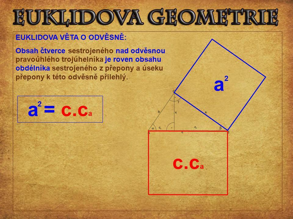 EUKLIDOVA VĚTA O ODVĚSNĚ: Obsah čtverce sestrojeného nad odvěsnou pravoúhlého trojúhelníka je roven obsahu obdélníka sestrojeného z přepony a úseku př