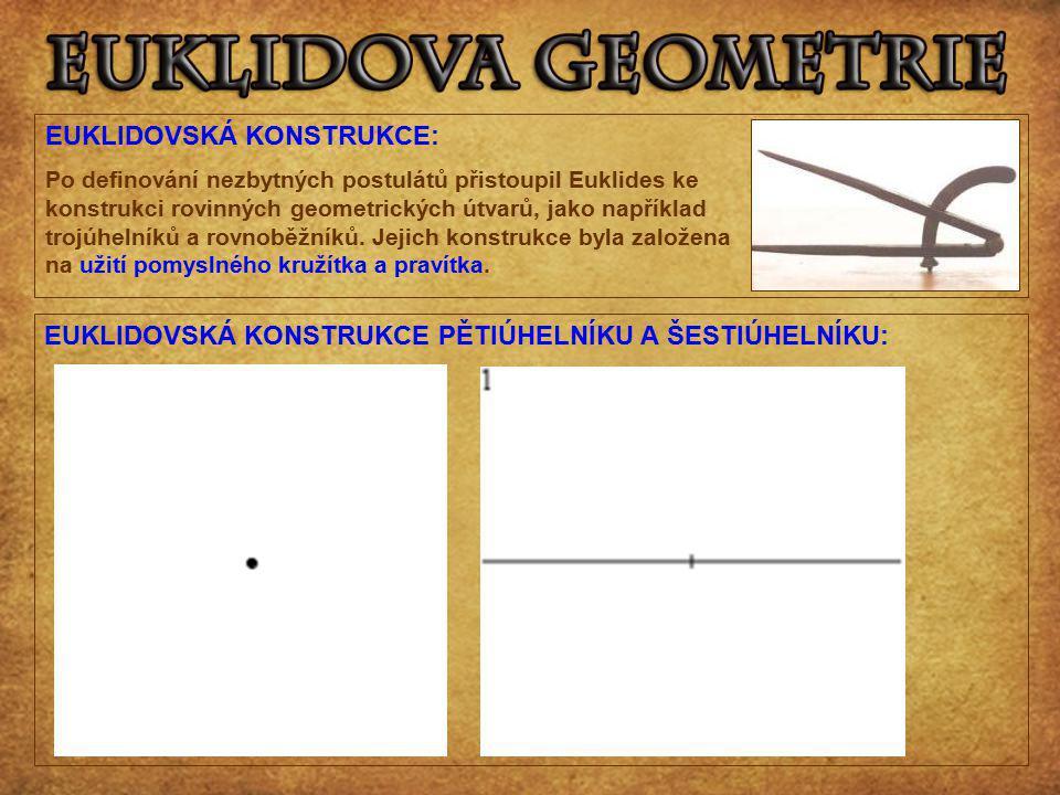 EUKLIDOVSKÁ KONSTRUKCE: Po definování nezbytných postulátů přistoupil Euklides ke konstrukci rovinných geometrických útvarů, jako například trojúhelní