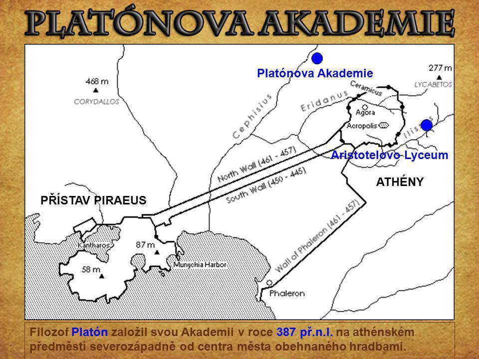 Filozof Platón založil svou Akademii v roce 387 př.n.l. na athénském předměstí severozápadně od centra města obehnaného hradbami. ATHÉNY PŘÍSTAV PIRAE