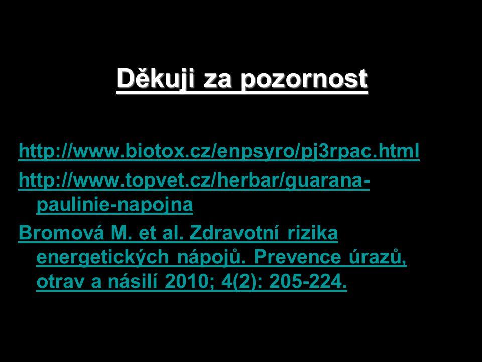 Děkuji za pozornost http://www.biotox.cz/enpsyro/pj3rpac.html http://www.topvet.cz/herbar/guarana- paulinie-napojna Bromová M.