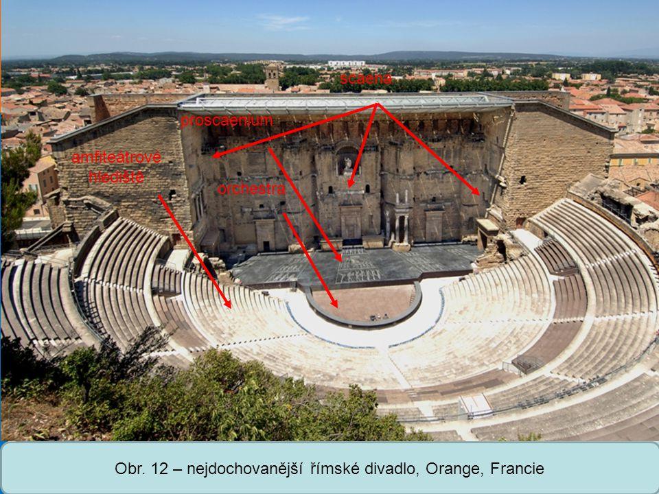 Střední škola Oselce Obr. 12 – nejdochovanější římské divadlo, Orange, Francie amfiteátrové hlediště proscaenium orchestra scaena