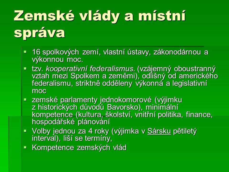 Zemské vlády a místní správa  16 spolkových zemí, vlastní ústavy, zákonodárnou a výkonnou moc.  tzv. kooperativní federalismus. (vzájemný oboustrann