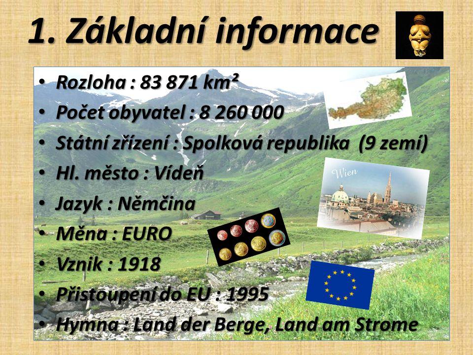 1. Základní informace Rozloha : 83 871 km² Rozloha : 83 871 km² Počet obyvatel : 8 260 000 Počet obyvatel : 8 260 000 Státní zřízení : Spolková republ