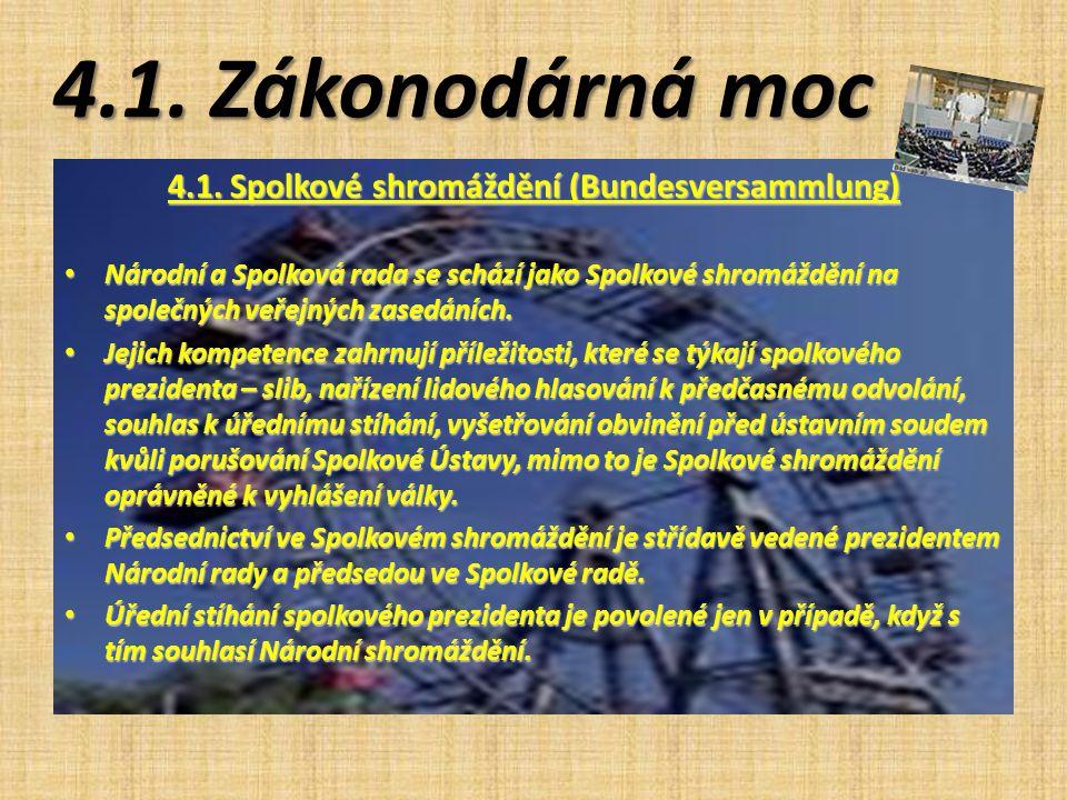 4.1. Zákonodárná moc 4.1. Spolkové shromáždění (Bundesversammlung) Národní a Spolková rada se schází jako Spolkové shromáždění na společných veřejných