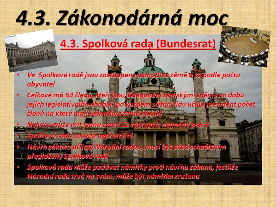 4.3. Zákonodárná moc 4.3. Spolková rada (Bundesrat) Ve Spolkové radě jsou zastoupeny jednotlivé zěmě a to podle počtu obyvatel Ve Spolkové radě jsou z