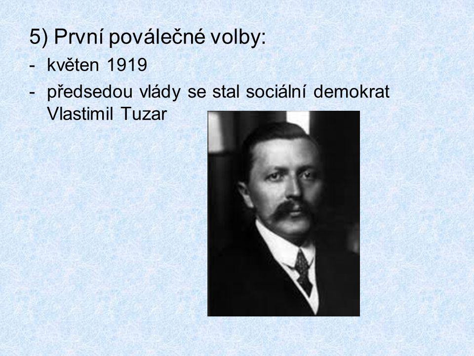 5) První poválečné volby: -květen 1919 -předsedou vlády se stal sociální demokrat Vlastimil Tuzar