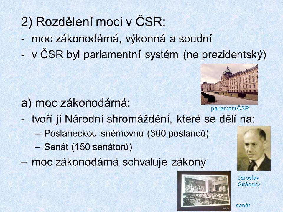 b) moc výkonná: -vláda ČSR (1.