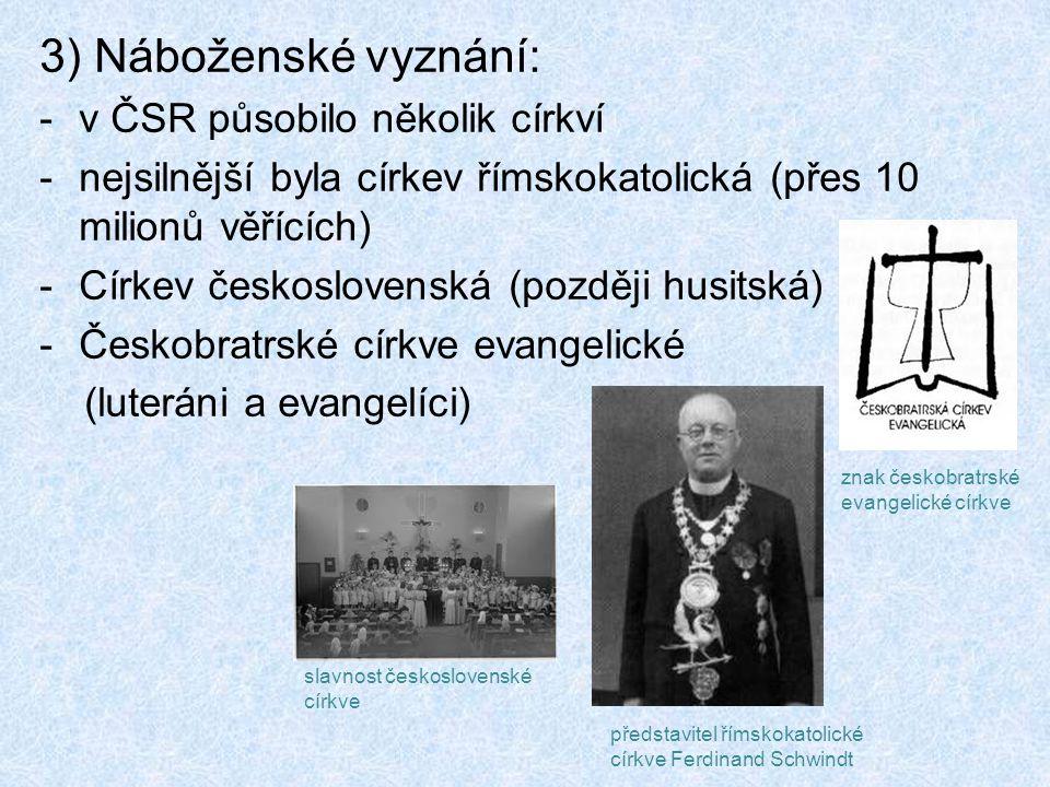 3) Náboženské vyznání: -v ČSR působilo několik církví -nejsilnější byla církev římskokatolická (přes 10 milionů věřících) -Církev československá (později husitská) -Českobratrské církve evangelické (luteráni a evangelíci) slavnost československé církve znak českobratrské evangelické církve představitel římskokatolické církve Ferdinand Schwindt