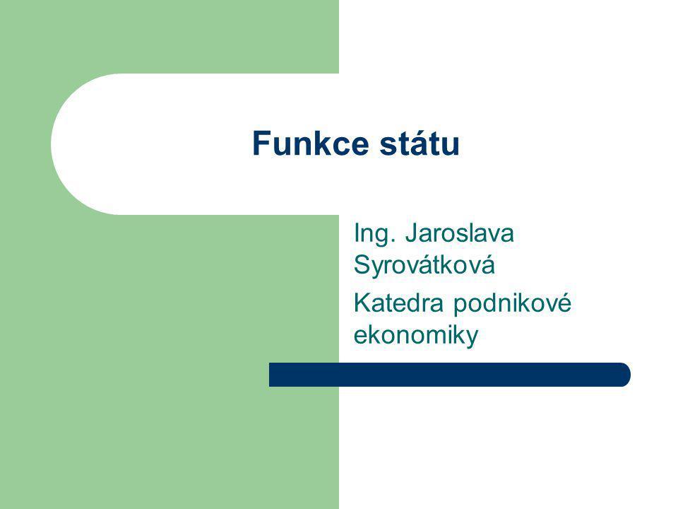 Funkce státu Ing. Jaroslava Syrovátková Katedra podnikové ekonomiky