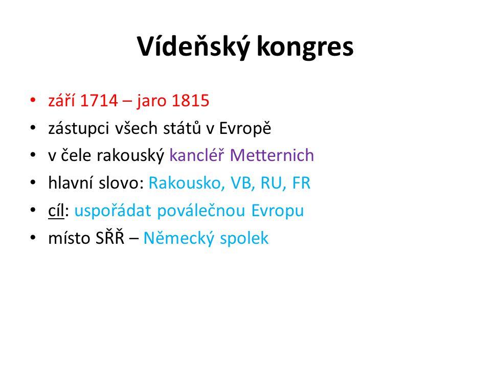 Vídeňský kongres září 1714 – jaro 1815 zástupci všech států v Evropě v čele rakouský kancléř Metternich hlavní slovo: Rakousko, VB, RU, FR cíl: uspořá