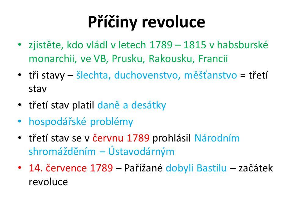Příčiny revoluce zjistěte, kdo vládl v letech 1789 – 1815 v habsburské monarchii, ve VB, Prusku, Rakousku, Francii tři stavy – šlechta, duchovenstvo,