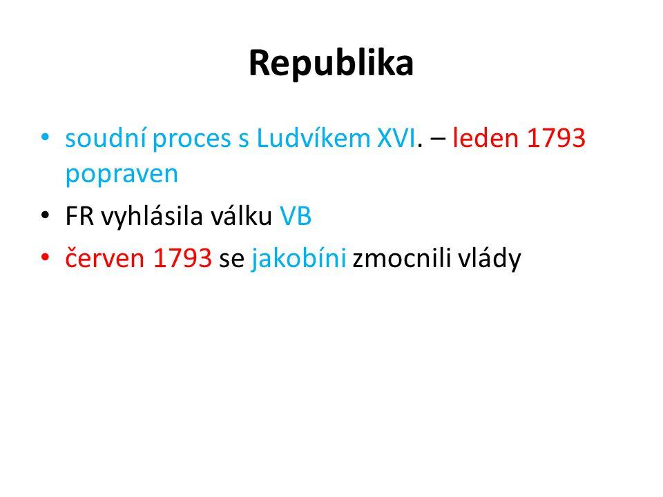 Republika soudní proces s Ludvíkem XVI. – leden 1793 popraven FR vyhlásila válku VB červen 1793 se jakobíni zmocnili vlády