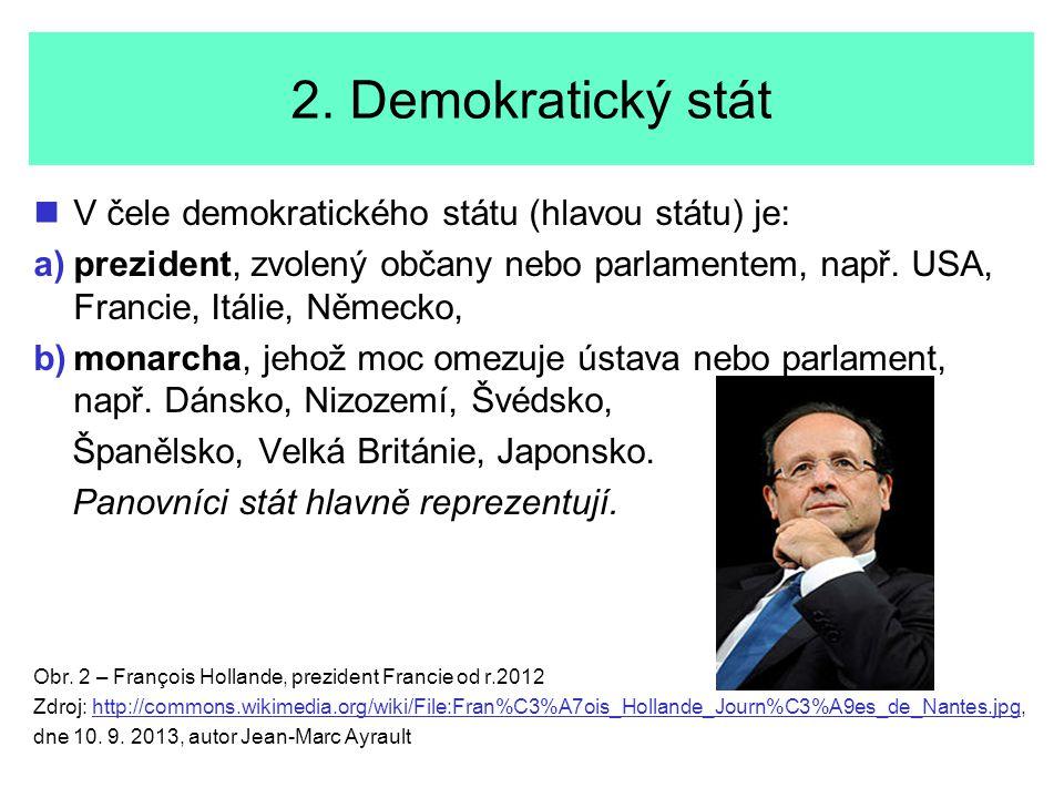 2. Demokratický stát V čele demokratického státu (hlavou státu) je: a) a)prezident, zvolený občany nebo parlamentem, např. USA, Francie, Itálie, Němec