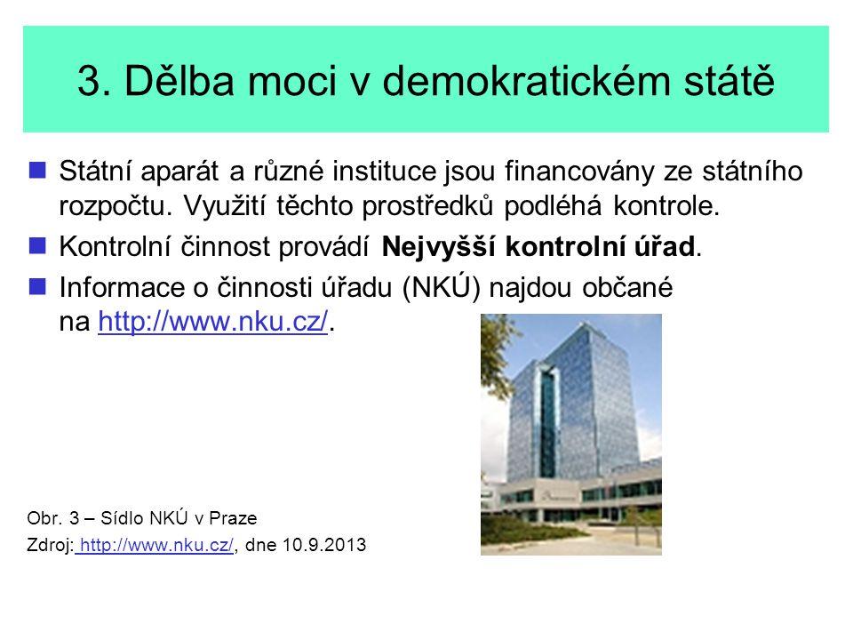 3. Dělba moci v demokratickém státě Státní aparát a různé instituce jsou financovány ze státního rozpočtu. Využití těchto prostředků podléhá kontrole.