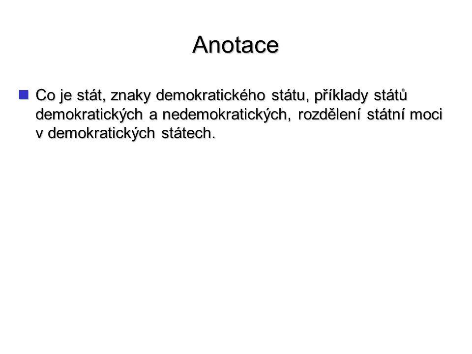 Anotace Co je stát, znaky demokratického státu, příklady států demokratických a nedemokratických, rozdělení státní moci v demokratických státech. Co j