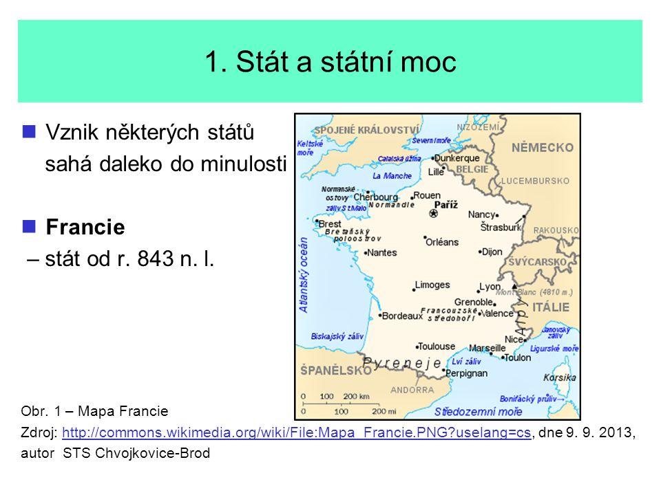 1. Stát a státní moc Vznik některých států sahá daleko do minulosti Francie – stát od r. 843 n. l. Obr. 1 – Mapa Francie Zdroj: http://commons.wikimed