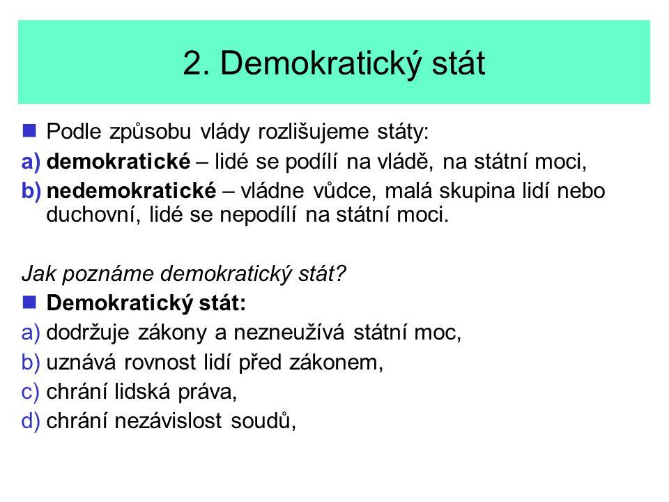 2. Demokratický stát Podle způsobu vlády rozlišujeme státy: a) a)demokratické – lidé se podílí na vládě, na státní moci, b) b)nedemokratické – vládne