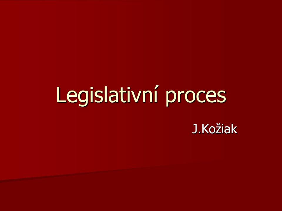 Postup tvorby a přijímání právních předpisů Postup tvorby a přijímání právních předpisů Výstup – platný a účinný právní předpis Výstup – platný a účinný právní předpis ČR – většinová nepřímá demokracie ČR – většinová nepřímá demokracie