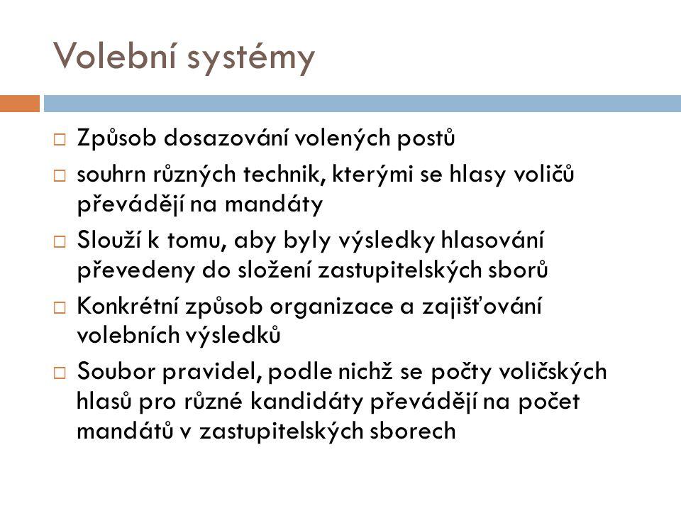 Volební systémy  Způsob dosazování volených postů  souhrn různých technik, kterými se hlasy voličů převádějí na mandáty  Slouží k tomu, aby byly vý