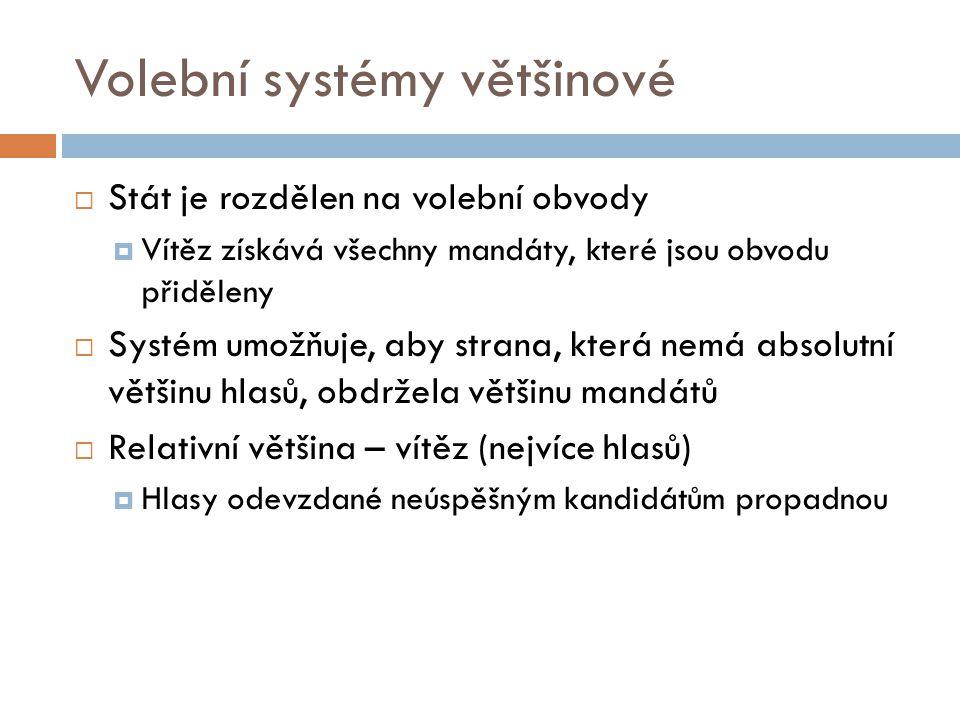 Volební systémy většinové  Stát je rozdělen na volební obvody  Vítěz získává všechny mandáty, které jsou obvodu přiděleny  Systém umožňuje, aby str
