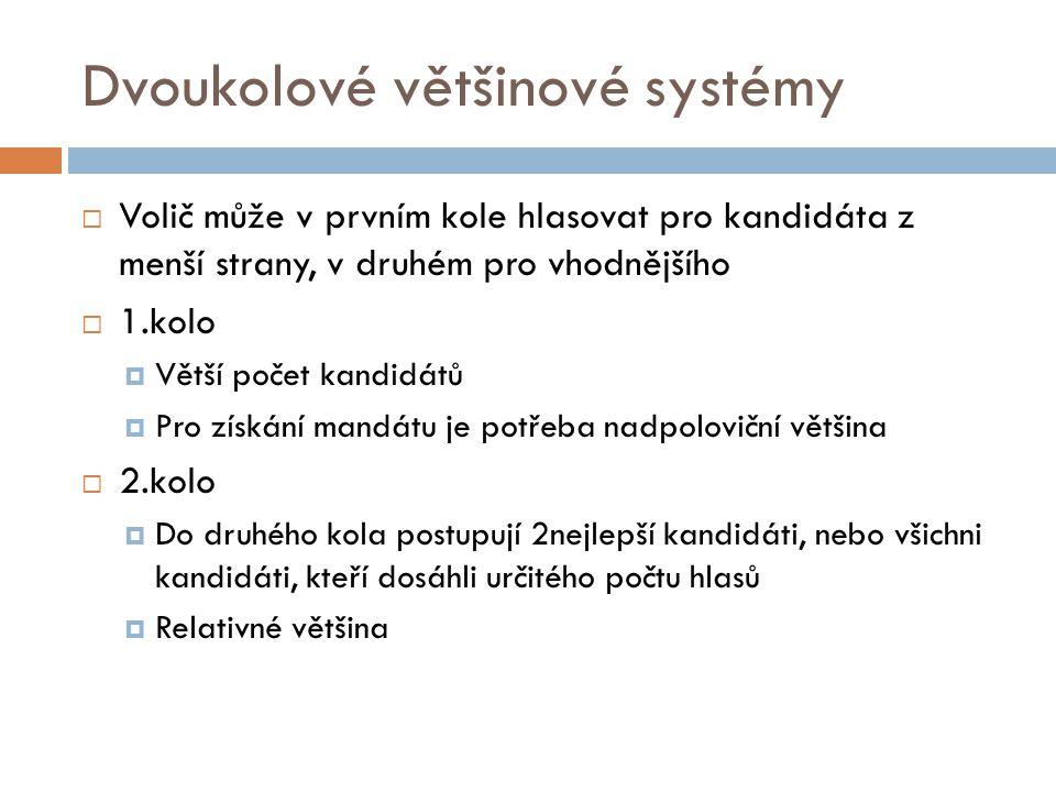 Dvoukolové většinové systémy  Volič může v prvním kole hlasovat pro kandidáta z menší strany, v druhém pro vhodnějšího  1.kolo  Větší počet kandidá